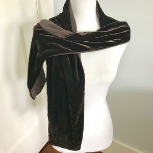 Vintage Brown Silk Velvet Scarf